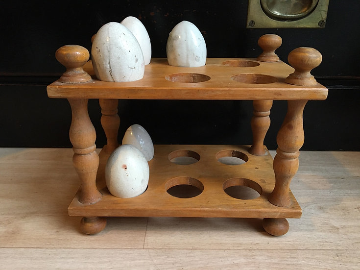 Vintage wooden two tier egg rack
