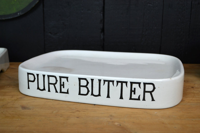 Antique white ironstone 'Pure Butter' grocers display slab