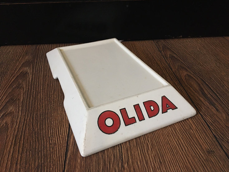 White ironstone Olida butcher's display plinth - butcher's slab