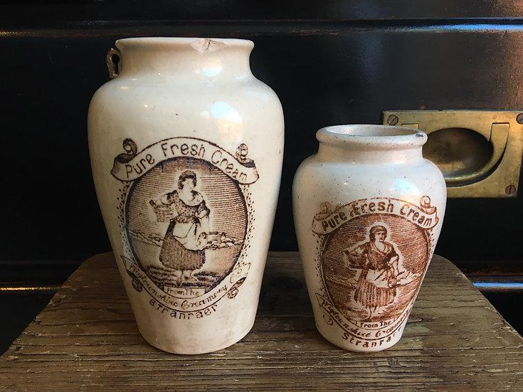 Large Stranraer Cream Pot - 1x Antique stoneware cream crock with sepia transfer