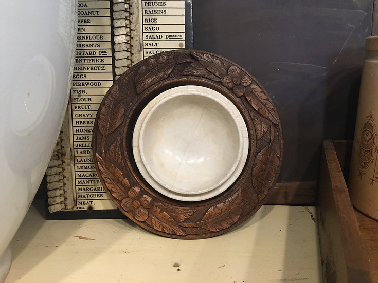 Antique deep carved wooden butter dish