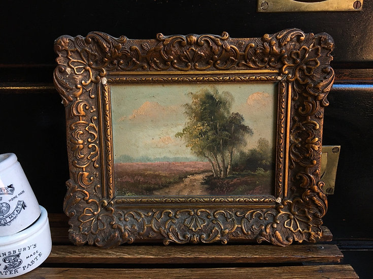 Small vintage landscape painting - oil on board