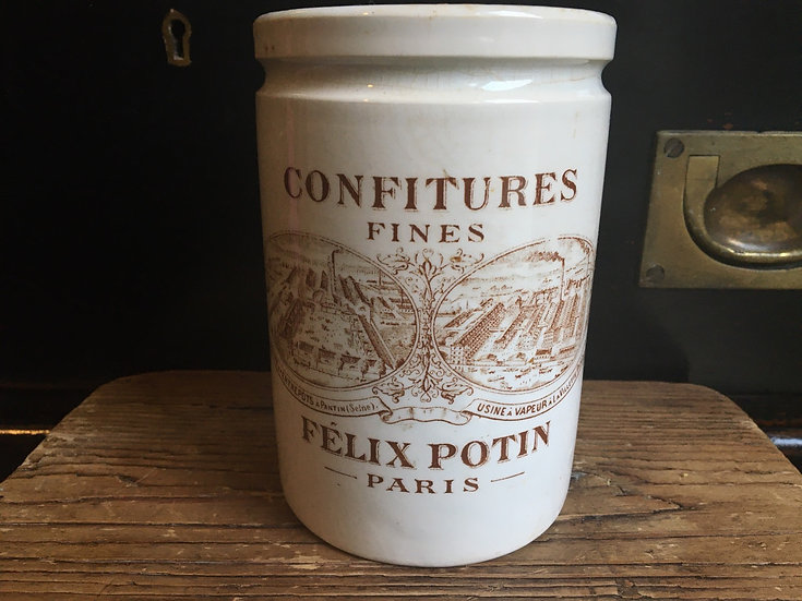 Antique French Felix Potin confiture pot - Sepia transfer