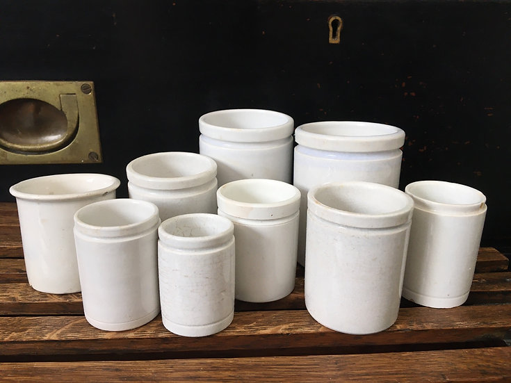 Set of 9 Antique French ironstone ointment pots