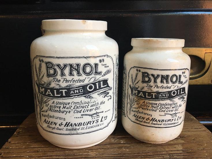 1x Large antique ironstone Bynol pot 2lb - malt and oil jar