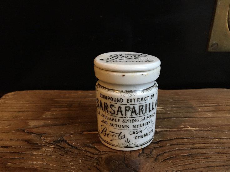 Antique mini Boots Sarsaparilla pot with lid