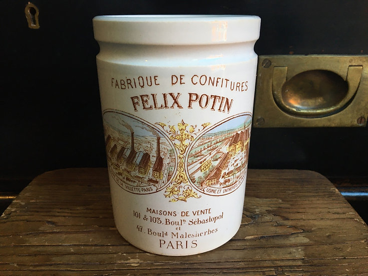 Polychome French Felix Potin confiture pot