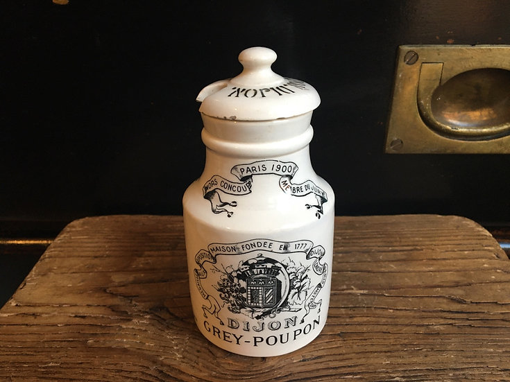 Vintage French ironstone mustard pot Dijon Grey Poupon with lid