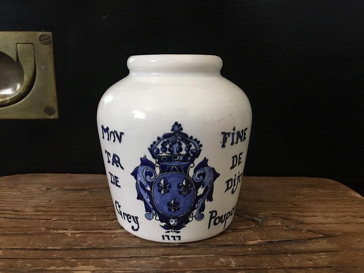 Vintage French ironstone mustard pot Moutarde Dijon Grey Poupon blue transfer