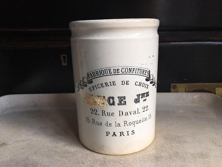 Antique French Confiture pot - ironstone Creil et Montereau pot