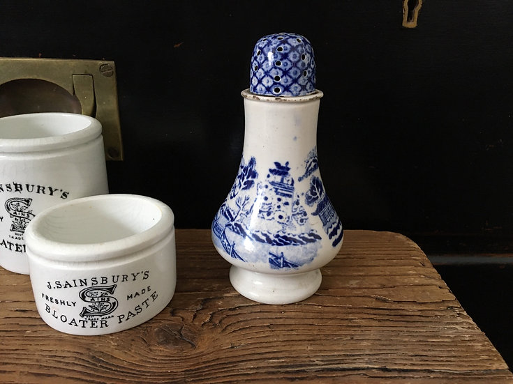 Antique 19thC white ironstone sugar sifter with blue willow pattern