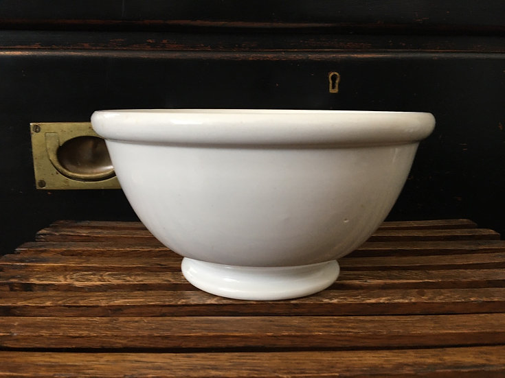 White ironstone footed bowl - ironstone batter bowl