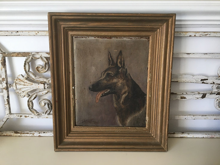 Antique oil painting on canvas of a German Shepherd or Alsatian dog
