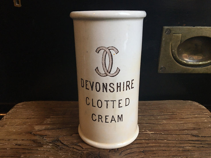 Antique sepia 'Devonshire Clotted Cream' cylinder pot - cream crock