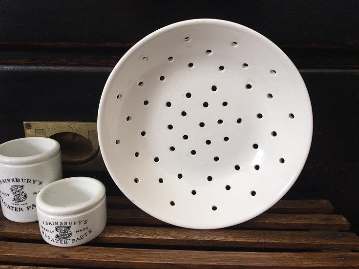 Antique French white ironstone berry bowl Digoin & Sarreguemines