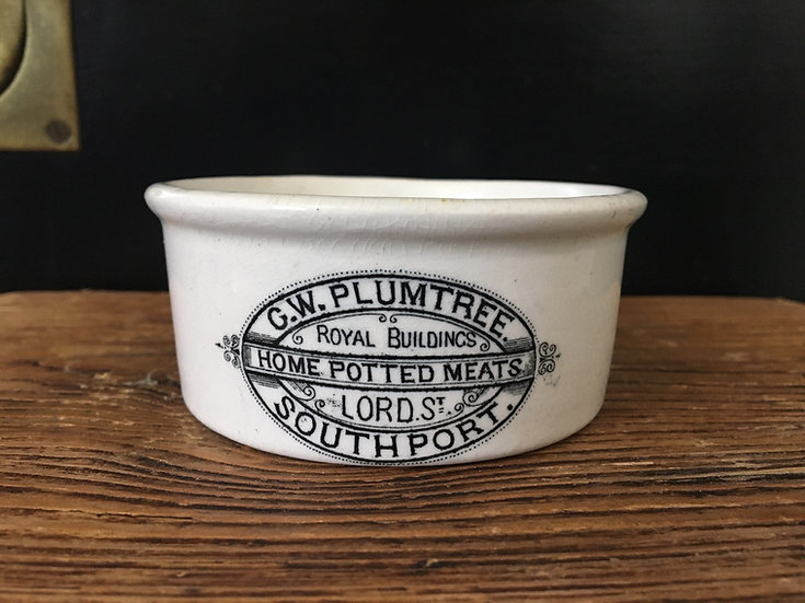 RARE Antique ironstone Plumtree potted meat pot - Royal Buildings Lord st