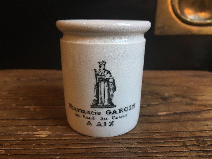 1x Small antique French ironstone pharmacy pot - Pharmacie Gracin