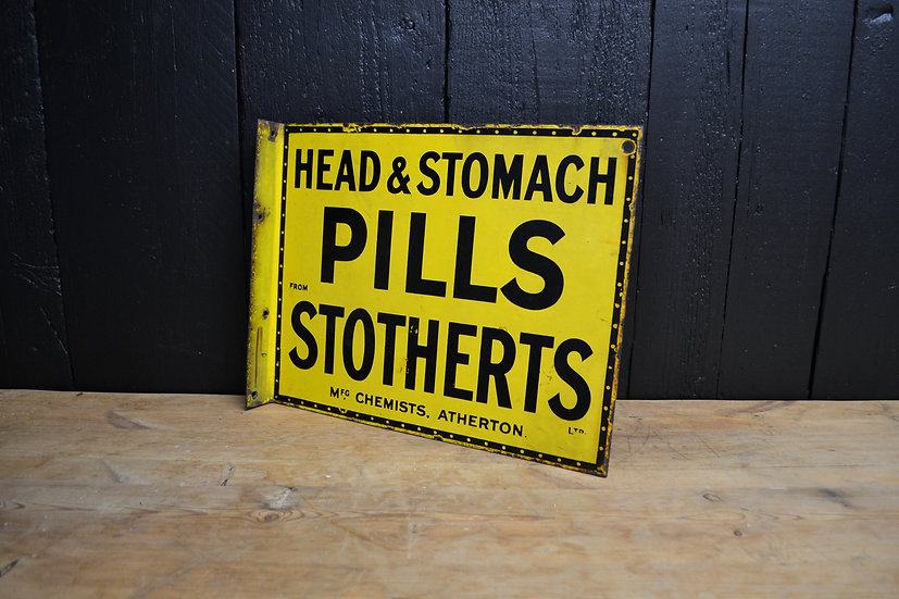 Antique 'Stotherts Head & Stomach Pills' enamel sign