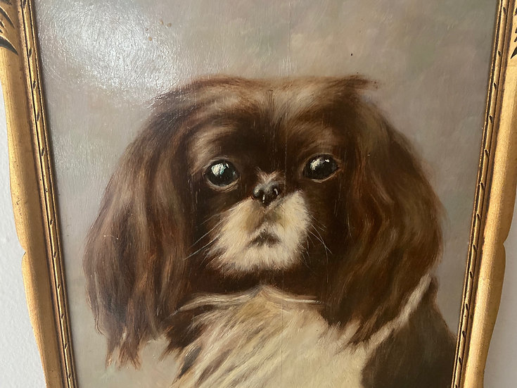 Vintage oil painting of a Pekinese dog