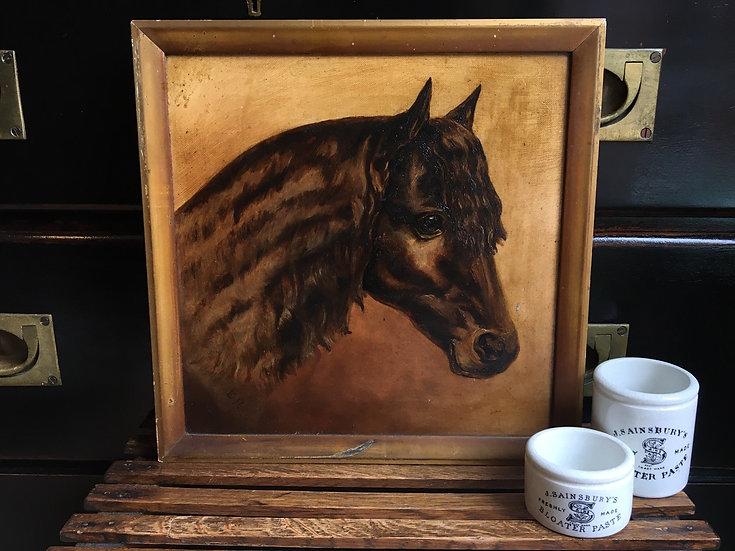 Antique black horse oil painting on canvas - pony painting on canvas