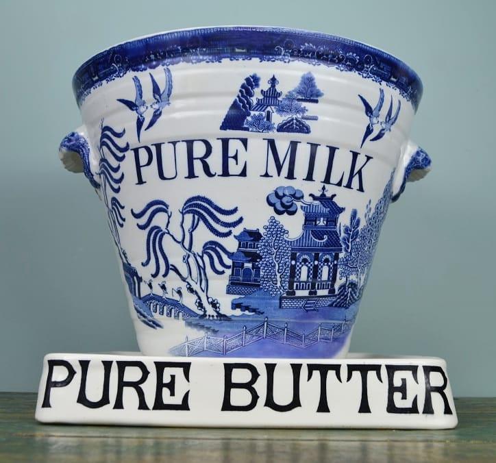 Willow pattern Pure Milk pail