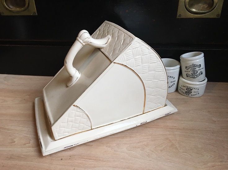 Large antique white ironstone cheese dish with gilt details