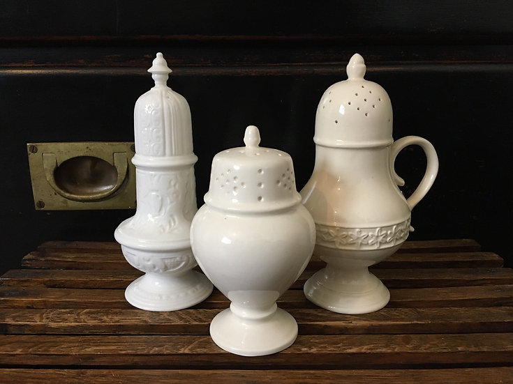 1x White ceramic urn shaped sugar sifter (middle)