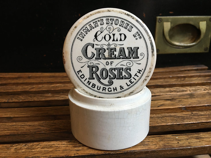 Antique Inman's Cold Cream pot lid and base
