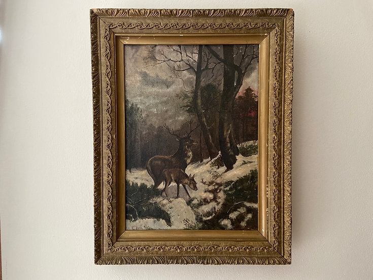 Antique oil painting of a stag and fawn in a snowy winter scene