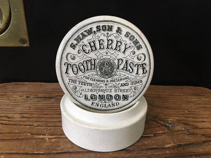 Antique Victorian cherry tooth paste pot lid and base