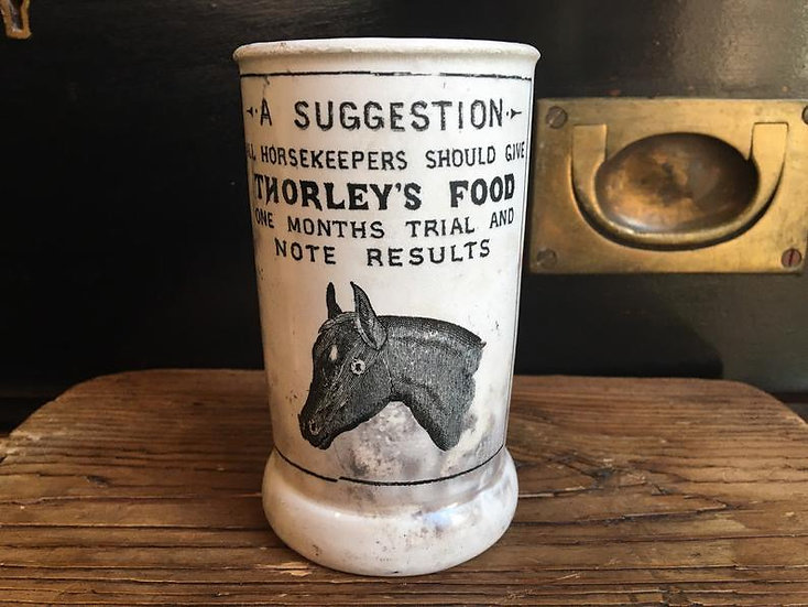 Ironstone horse cylinder crock - Thorleys Food/Thorley's Poultry Spice