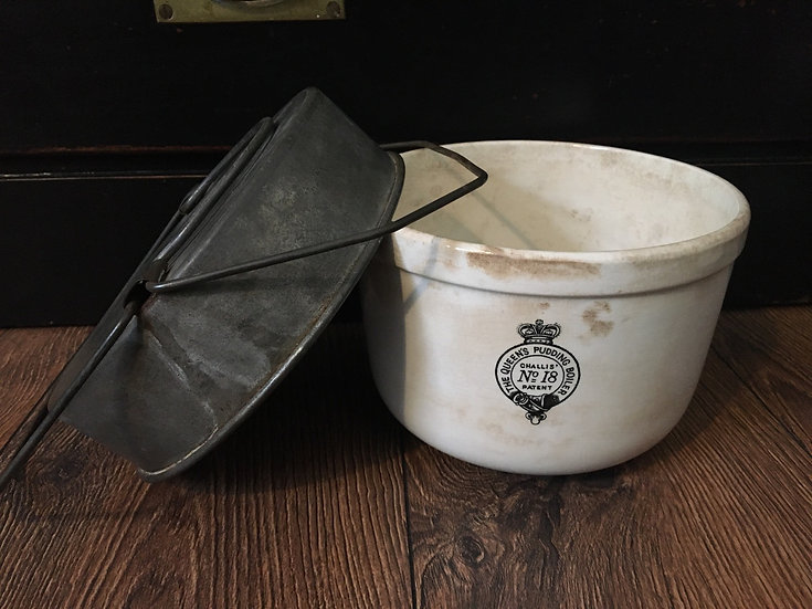 1x Stained ironstone Queen's Pudding Boiler Nr18 with metal lid