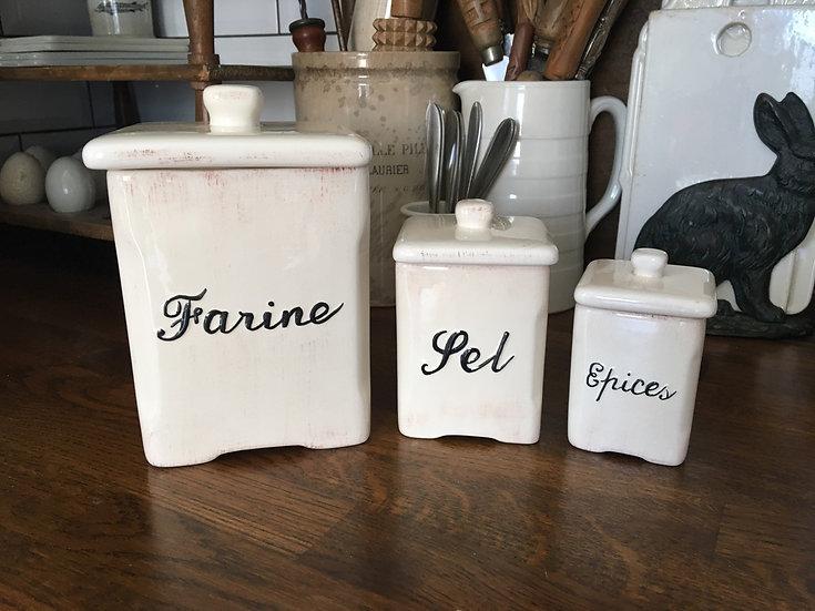 Set of 3 French ceramic storage jars