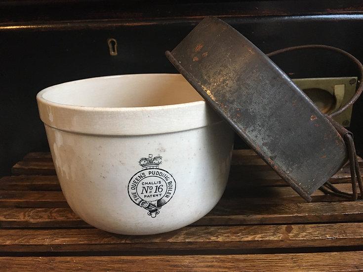 Antique ironstone 'The Queens Pudding Boiler No 16'