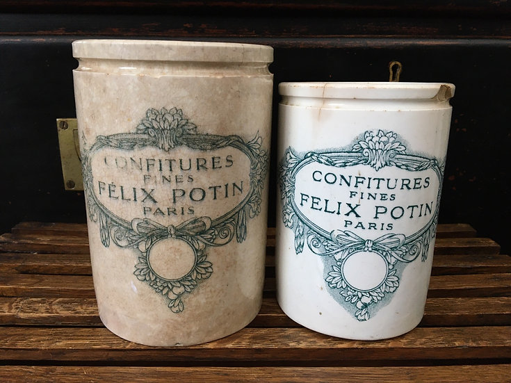 1x Large antique French Felix Potin confiture pot - Teal transfer