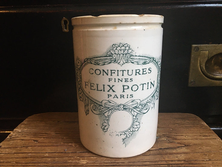 Antique Felix Potin confiture pot - teal colourway