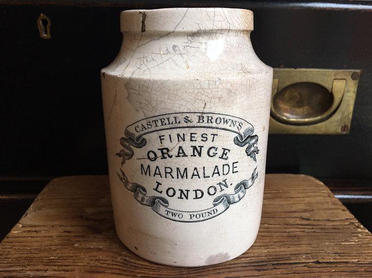 Antique 2lb Castell & Browns Fine Orange marmalade pot - 2 pound marmalade pot