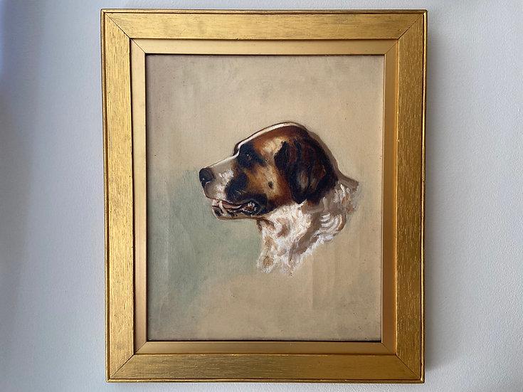 Antique oil painting of a St. Bernard dog