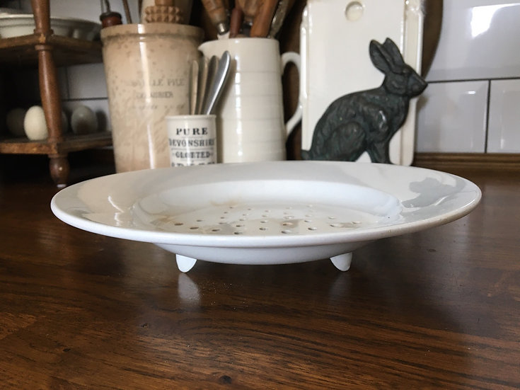 Antique white ironstone berry bowl on feet - Petrus Regout 1893