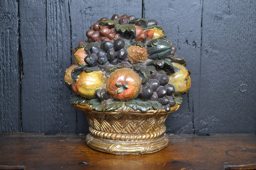 Antique chalkware flat back fruit basket