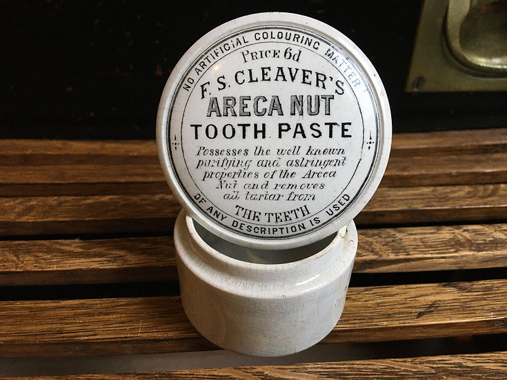 Victorian tooth paste pot lid and base - Cleaver's Areca Nut Tooth Paste
