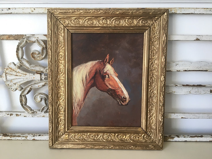 Vintage French horse portrait - oil on board