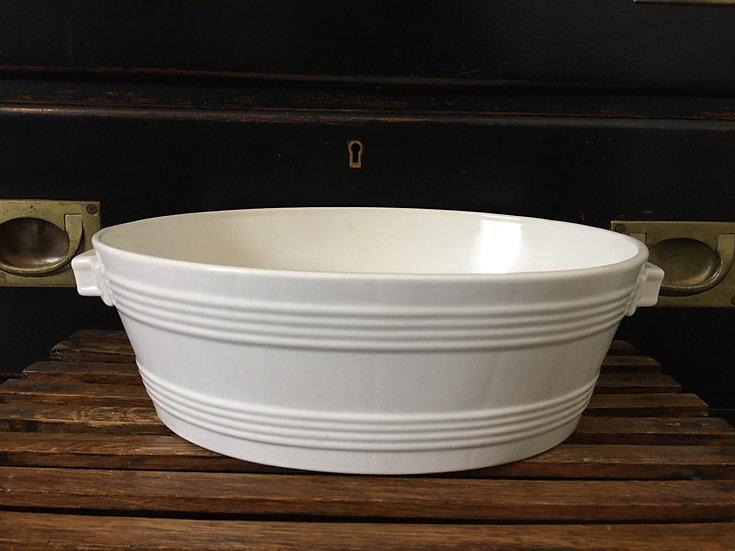 1x Antique white ironstone Petrus Regout butter bowl