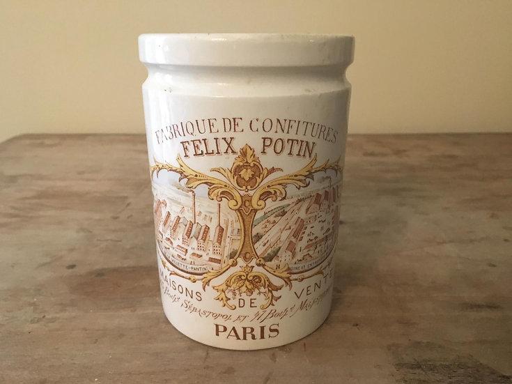 Antique French ironstone confiture pot - Polychrome Felix Potin