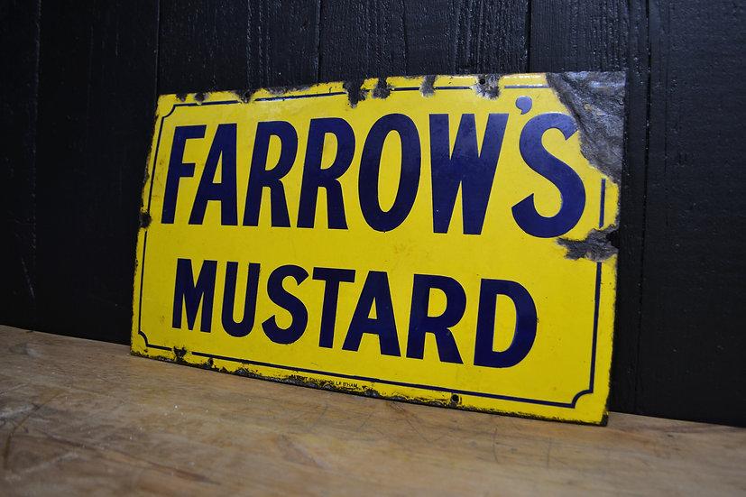 Antique 'Farrow's Mustard' enamel sign