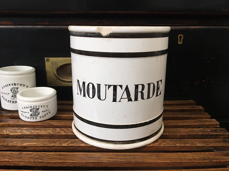Large antique white ironstone French mustard pot - Moutarde pot