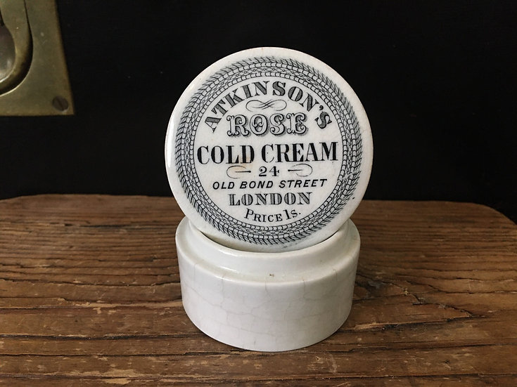 Antique Victorian Atkinson's cold cream pot lid and base