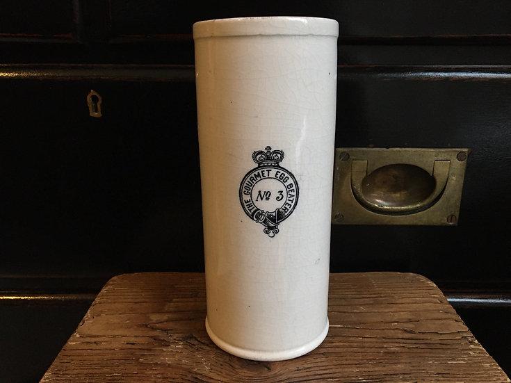 Antique Gourmet Egg Beater No3 - white ironstone pottery kitchenalia pot
