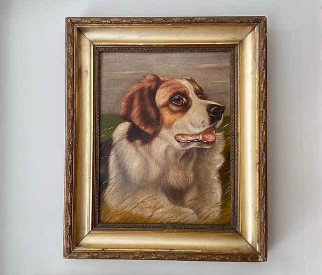 Antique oil painting on canvas of a St Bernard dog