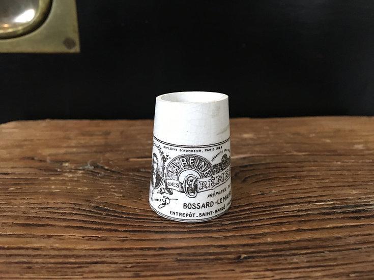 Mini antique French ironstone ointment pot - La Reine des Crèmes